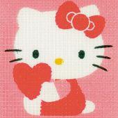 Kit de canevas pour enfant - Vervaco - Hello kitty avec un coeur