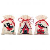 Kit de sachet senteur à broder - Vervaco - Oiseaux et maison de Noël