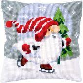 Kit de coussin gros trous - Vervaco - Gnome de Noël sur glace