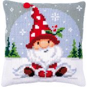Kit de coussin gros trous - Vervaco - Gnome de Noël dans la neige