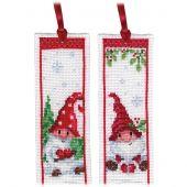 Kit de marque-pages à broder - Vervaco - Gnomes dans la neige