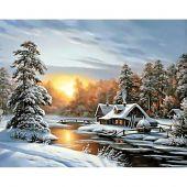 Kit de broderie Diamant - Wizardi - Lever de soleil hivernal