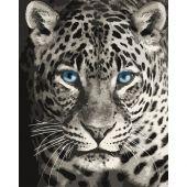 Kit de peinture par numéro - Wizardi - Léopard aux yeux bleus