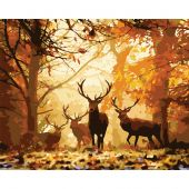 Kit de peinture par numéro - Wizardi - Cerfs de forêt