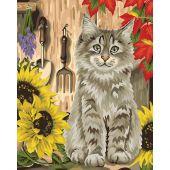 Kit de peinture par numéro - Wizardi - Chaton et tournesols