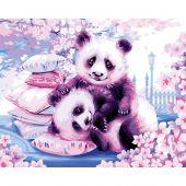 Kit de peinture par numéro - Wizardi - Pandas japonais