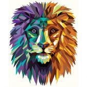 Kit de peinture par numéro - Wizardi - Lion polygonal