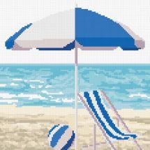 Kit point de croix - Marie Coeur - Bord de mer bleu