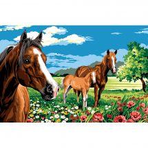 Canevas Pénélope  - Margot de Paris - Les chevaux de la prairie