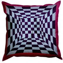 Kit de coussin point lancé - SEG de Paris - Damier rose et violet