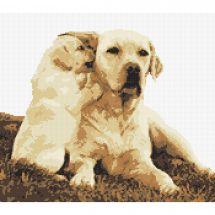 Kit point de croix - Marie Coeur - Labrador et son chiot