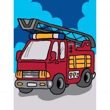 Kit de canevas pour enfant - Luc Créations - Camion de pompier