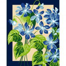 Kit de canevas pour enfant - Luc Créations - Fleurs bleues