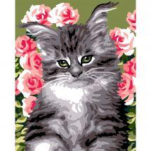 Kit de canevas pour enfant - Luc Créations - Chat dans les roses