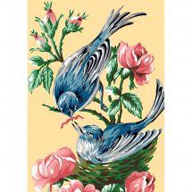 Canevas Pénélope  - Luc Créations - Les oiseaux bleus