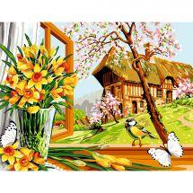 Canevas Pénélope  - Luc Créations - Le printemps à la fenêtre