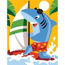 Kit de canevas pour enfant - Margot de Paris - Requin planche à voile