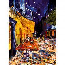 Canevas Pénélope  - SEG de Paris - Terrasse de café le soir place du forum
