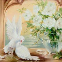 Kit de broderie Diamant - Diamond Painting - Couple de colombes et roses blanches
