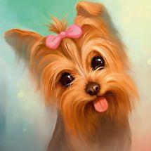 Kit de broderie Diamant - Diamond Painting - Yorkshire terrier