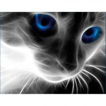 Kit de broderie Diamant - Diamond Painting - Le chat aux yeux bleus