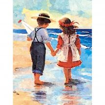 Kit de broderie Diamant - Diamond Painting - Enfants sur la plage