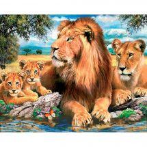 Kit de broderie Diamant - Diamond Painting - La famille lion