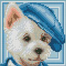 Kit de broderie Diamant - Diamond Painting - Le chien à la casquette