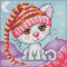 Kit de broderie Diamant - Diamond Painting - La chatte au bonnet