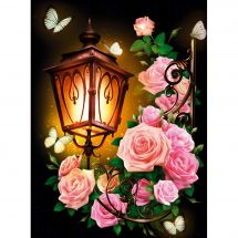Kit de broderie Diamant - Diamond Painting - Lanterne et roses