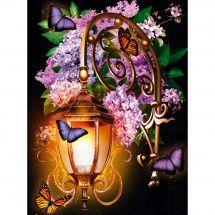 Kit de broderie Diamant - Diamond Painting - Lanterne et lilas