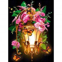 Kit de broderie Diamant - Diamond Painting - Lanterne et bouquet roses