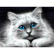 Kit de broderie Diamant - Diamond Painting - Chat aux yeux bleus