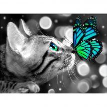 Kit de broderie Diamant - Diamond Painting - Chat bengal et papillon
