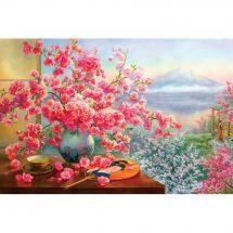 Kit de broderie Diamant - Diamond Painting - Bouquet de fleurs de cerisier