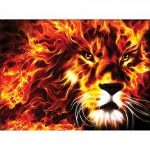 Kit de broderie Diamant - Diamond Painting - Lion ardent