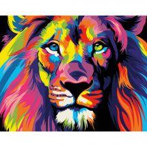 Kit de peinture par numéro - Wizardi - Lion arc-en-ciel