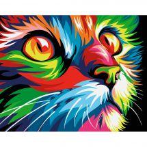 Kit de peinture par numéro - Wizardi - Chat arc-en-ciel
