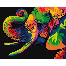 Kit de peinture par numéro - Wizardi - Eléphant arc-en-ciel