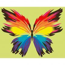 Kit de peinture par numéro - Wizardi - Papillon arc-en-ciel