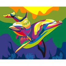 Kit de peinture par numéro - Wizardi - Dauphins arc-en-ciel