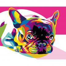 Kit de peinture par numéro - Wizardi - Bulldog français arc-en-ciel