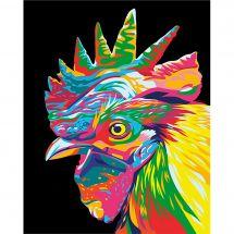Kit de peinture par numéro - Wizardi - Tête de coq arc-en-ciel