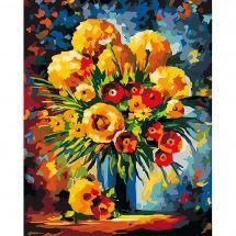 Kit de peinture par numéro - Wizardi - Bouquet jaune et rouge