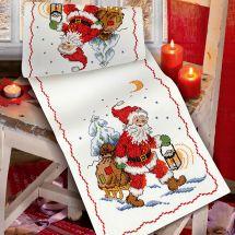 Kit de chemin de table à broder - Anchor - Papa Noël et sa luge