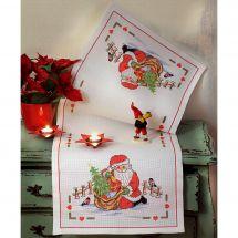 Kit de chemin de table à broder - Anchor - La course du Père Noël