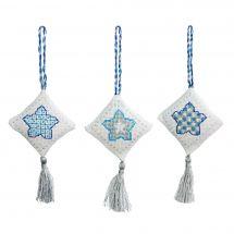 Kit d'ornement à broder - Anchor - 3 suspensions Noël - Losanges bleus