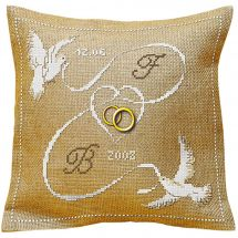 Kit de coussin à broder - Aux 4 points du monde - Mariage les oiseaux au ruban