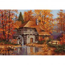 Kit point de croix - Luca-S - Moulin en automne
