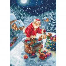 Kit point de croix - Luca-S - Père Noël entrant par la cheminée